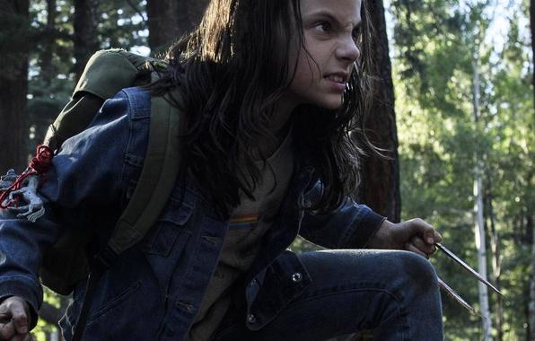Picture cinema, girl, forest, Wolverine, X-Men, Logan, tree, Marvel, hero, film, angry, Laura, X-23, fury, yuusha, …