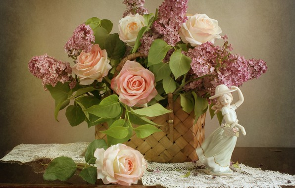 Picture flower, girl, flowers, basket, rose, roses, figurine, lilac, napkin, figure