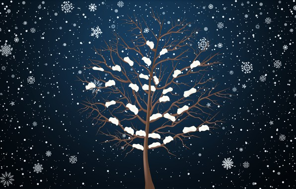Photo wallpaper Winter, Minimalism, Tree, Snow, Snowflakes, Background
