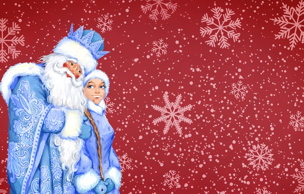 Picture Winter, Minimalism, Snow, Background, New year, Frost, Maiden, Holiday, Santa Claus, Mood, Grandfather