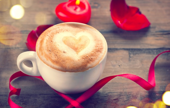 Photo wallpaper coffee, romantic, roses, heart, love, valentine`s day, roses