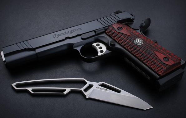 Picture gun, weapons, knife, gun, weapon, custom, custom, M1911, knife, M1911 pistol, Remington, Remington