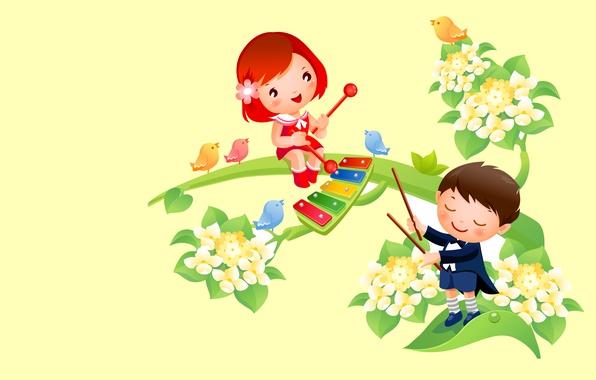 Picture flowers, music, heat, mood, vector, spring, boy, art, girl, bird