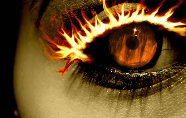 Picture fire, orange, Eye, eyelash