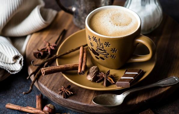 Picture coffee, chocolate, cinnamon, carnation