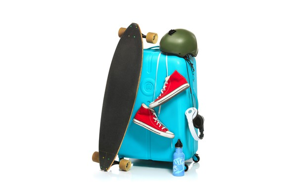 Picture sneakers, headphones, white background, helmet, suitcase, Board, skate, skateboard, thermos
