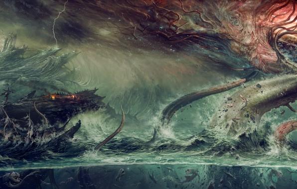 Picture fantasy, ocean, water, tree, destruction, Kraken, mythological monster