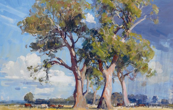 Picture animals, trees, landscape, picture, The Three Gums, Arthur Streeton