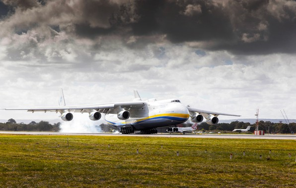 Picture The sky, Clouds, The plane, Smoke, Strip, Wings, Engines, Dream, Ukraine, Mriya, The an-225, Airlines, ...