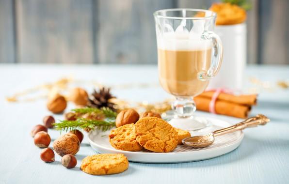 Picture coffee, cookies, drink, nuts, cinnamon