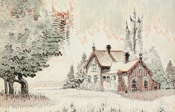 Picture house, 1955, Charles Ephraim Burchfield, Morning Song, Cicada's