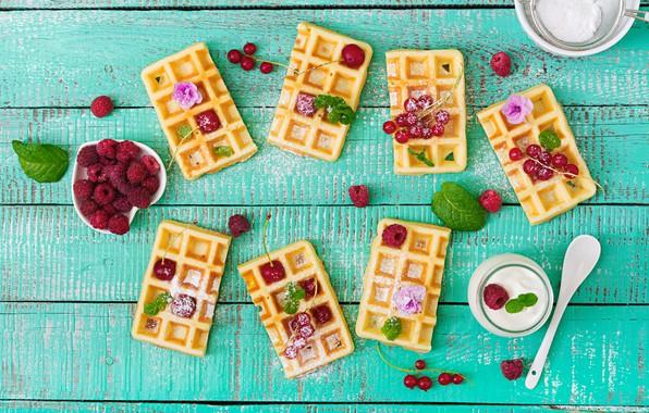 Picture berries, raspberry, fresh, wood, waffles, berries, raspberry, wafer