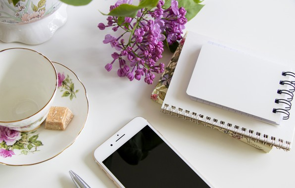 Picture mug, Notepad, phone, lilac