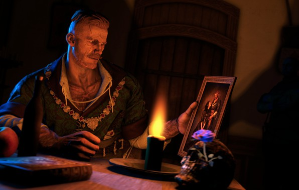 Picture flower, loneliness, flame, skull, bottle, apple, Apple, candle, picture, book, sake, flame, The Witcher, flower, …