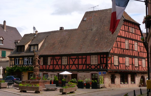 Picture Germany, patio, half-timbered house