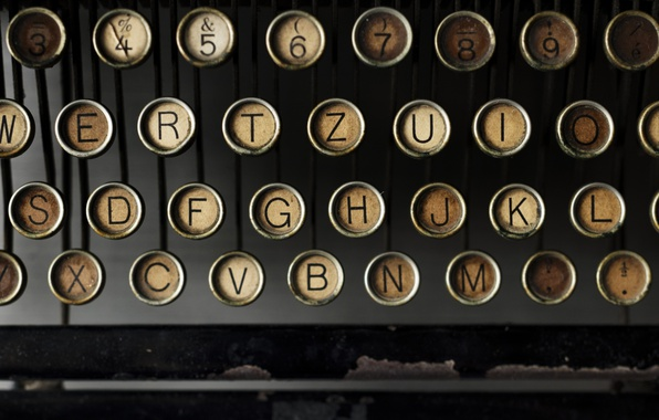 Picture letters, keys, typewriter