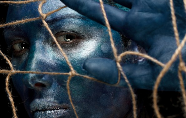 Picture look, girl, face, mesh, paint, hand, blue, Ivan Kovalev