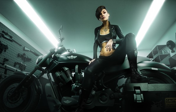 Picture pose, weapons, woman, motorcycle, tattoo, badass girl