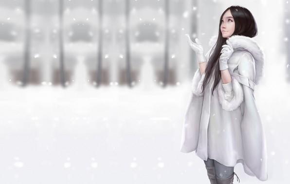 Picture winter, snow, mood, art, coat, Maou Renjishi