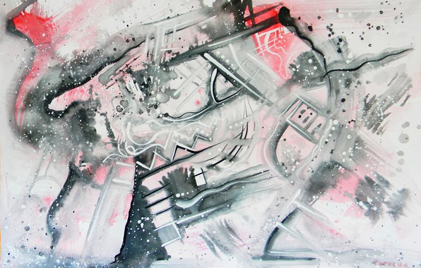 Picture red, grey, black, Drawings, Abstract, Lena Horn, 2010-2012