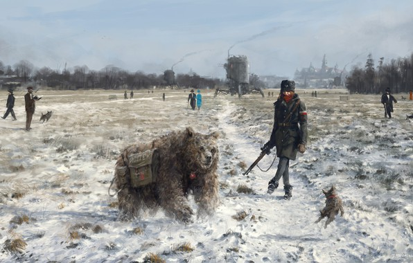 Picture city, Girl, fantasy, soldier, bear, sky, trees, animals, weapon, hat, dog, winter, snow, people, painting, …