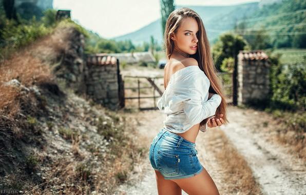 Picture look, girl, pose, shorts, long hair, Daria, Evgeny Freyer, Eugene Freyer