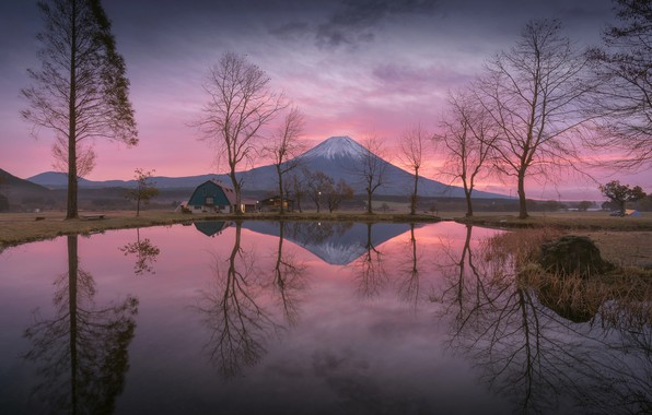 Picture water, lake, reflection, the evening, morning, Japan, mount Fuji, Fuji