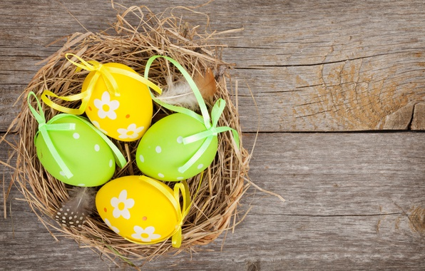 Photo wallpaper spring, colorful, wood, Easter, eggs, Easter, happy, holiday, spring, eggs