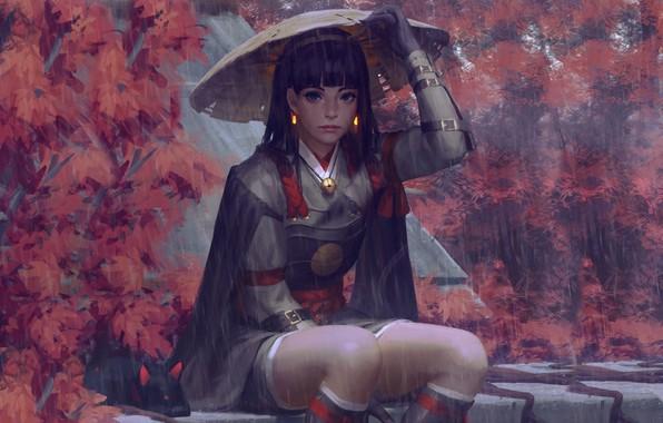 Picture rain, hat, armor, Japan, art, Guweiz, woman warrior, autumn trees