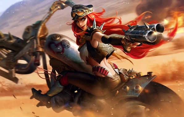 Picture girl, gun, fantasy, game, weapon, hat, motorcycle, redhead, League of Legends, digital art, artwork, fantasy …
