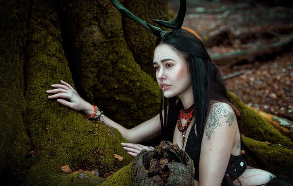 Picture forest, girl, roots, moss, horns, tattoo, Silent Purr