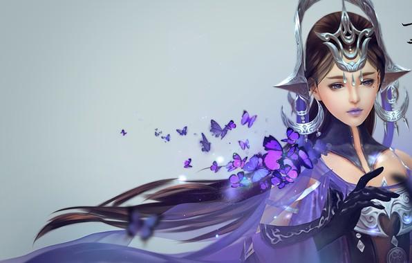Picture girl, magic, butterfly, art, Jian Wang