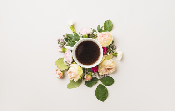 Picture flowers, coffee, Cup, flower, cup, coffee, decoration, composition