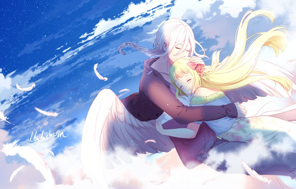 Picture the sky, romance, angel, art, girl, guy, two, hugs, lluluchwan
