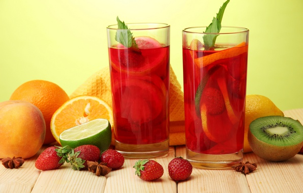 Picture orange, kiwi, strawberry, lime, glasses, fruit, drinks, mint, punch, star anise