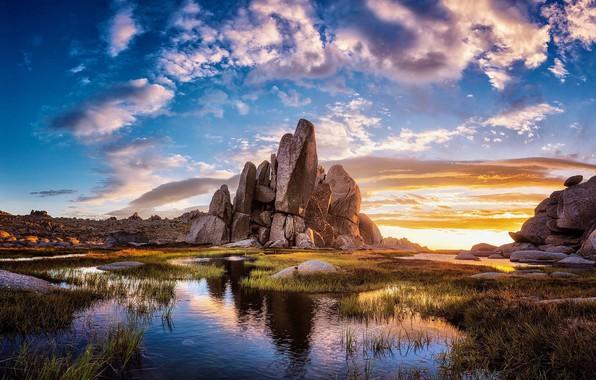 Photo wallpaper stones, the sky, rocks, lake