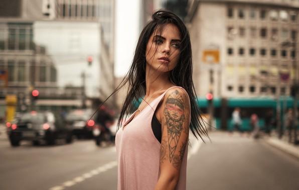 Picture city, girl, model, tatoo, hair, look, Martin Kuhn, Marlen Alvarez Valderrama