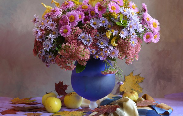 Picture leaves, flowers, table, apples, vase, still life, asters