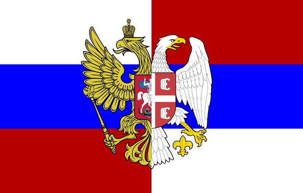 Picture Flag, Tricolor, Coat of arms, Russia, Serbia, Brotherhood, The eagles, Blazonry