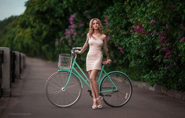 Picture trees, bike, sexy, pose, makeup, figure, dress, tattoo, hairstyle, brown hair, walk, legs, beauty, promenade, …