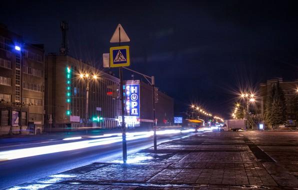 Picture road, machine, night, lights, sign, Ekaterinburg, Uralmash