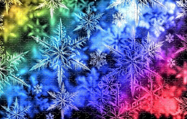 Picture light, snowflakes, glare, the dark background, rendering, vector, New Year, rainbow picture, holiday puzzle, winter …