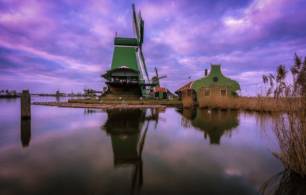 Picture house, channel, Netherlands, windmill, The Zaanse Schans