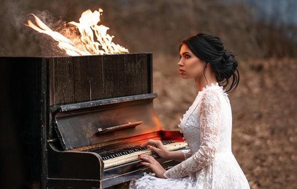 Picture girl, music, fire, piano
