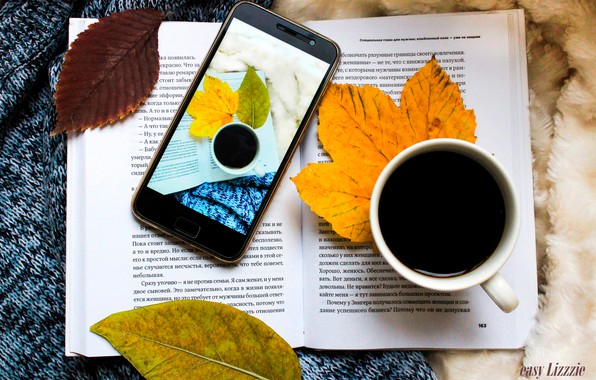 Picture autumn, leaves, coffee, book, phone, plaid, sweater, book, coffee, phone, a Cup of coffee, autmn, …