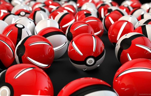 Picture white, red, ball, light, red, white, sphere, glows, ball, pokemon, pokemon, pokeball, pokebol