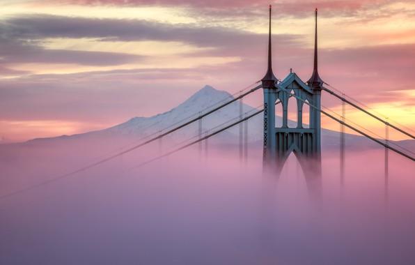 Picture city, USA, twilight, bridge, sunset, Portland, mountain, snow, evening, architecture, mist, United States of America, …