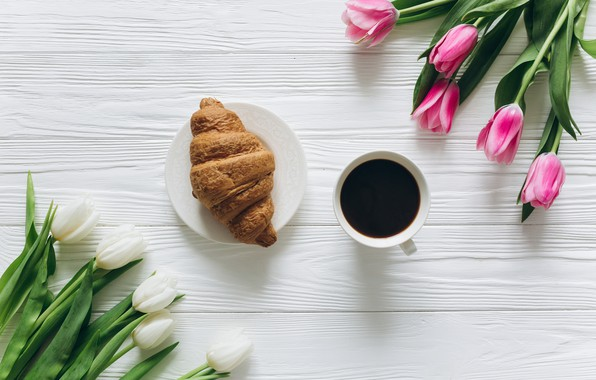 Picture flowers, coffee, Breakfast, Cup, tulips, pink, white, heart, wood, pink, flowers, cup, romantic, tulips, coffee, …