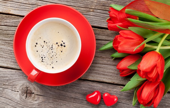 Picture love, flowers, gift, coffee, bouquet, Cup, tulips, red, love, cup, romantic, tulips, Valentine's Day, gift, ...