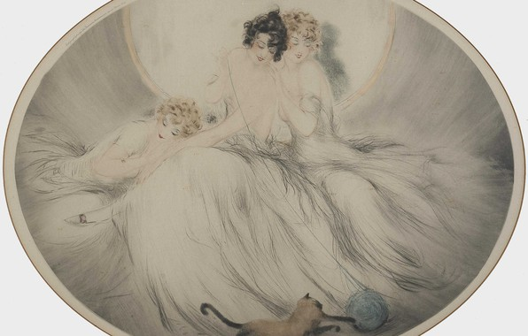 Picture three girls, Siamese cat, 1924, art Deco, Louis Ikar, etching and aquati, The ball of …